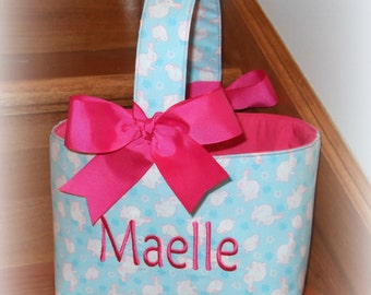 LAST ONE ... Personalized Easter Basket Custom Easter Basket for Boys or Girls Easter Bucket ...you choose a lining color