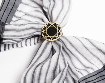 Unique Hand Made Brass Scarf Ring Round Diamond Cut Design Black Golden Color