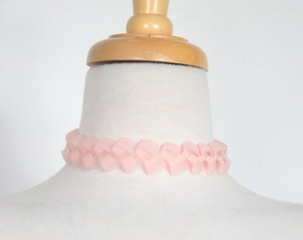 1950s Marie Antoinette Style Braided Choker // Powder Pink NOS never worn before new old stock