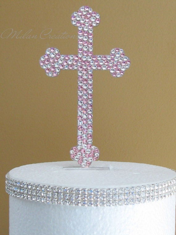 Crystal Cross Cake Topper