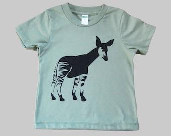 Okapi Kids T Shirt Organic Cotton Green