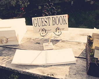 Guest Book Wedding Sign, Guest Book Please Sign.  Wedding, Reception, Welcome or Table Sign.  8 X 16 in. single sided.
