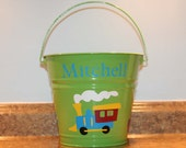 Personalized Easter, Baby shower or Birthday bucket or toy pail for boys with Train and Easter eggs or polka dots