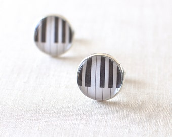 Piano Keyboard Cufflinks. Black and White Cuff Links. Piano Keys Cufflinks for Men. Music Cufflinks for Him.