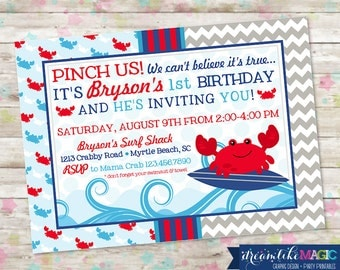 Surf On Over, Beach Birthday Bash, Crab Invite, Nautical Invite, Chevron, Pinch Us, Crabby, Crabs, Red White Blue, DIY Printable or Printed
