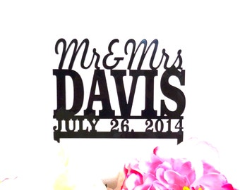 MADE In USA, Custom Wedding Cake Topper, Personalized Mr and Mrs Topper Cake Topper Your Last Name Monogram Family Name Wedding Topper
