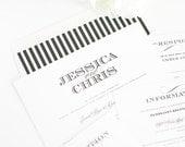 Elegant Wedding Invitation - Black, White, Silver, Stripes - Ornate Elegance Wedding Invitation - Classic, Elegant Wedding Invite