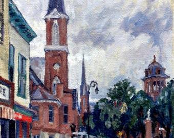 North Adams Steeples, Rainy. Original Oil Painting, 14x20 Plein Air Impressionist Landscape, Signed Original Realist Oil on Canvas
