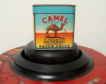 Camel Vulcanizing Patch 1946 Container Turquoise Orange Yellow 82 U