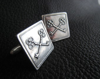 SILVER Cufflinks with Custom Logo or Design in Sterling Silver - Twenty Fifth Anniversary Gift - Wedding Gift - EXAMPLE