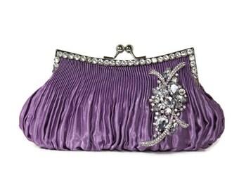 Purple Clutch, Bridal Clutch, Vintage Style Clutch, Evening Bag, Bridesmaids Clutch, Satin Wedding Clutch, Bridal Purse, Rhinestone Clutch
