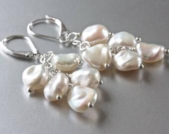 Cluster Keshi Pearl Earrings, White Pearl Earrings, Sterling Silver Jewelry, SRAJD