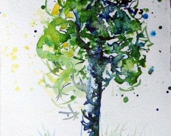 Watercolour AspenTree art - ORIGINAL watercolour 5x7 ready to matt and frame  WAS 25 now 20
