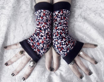 Cobbled Streets Fingerless Gloves | Navy Blue Red Pink Grey White Pebble Pattern Cotton | Gothic Yoga Tribal Cycling Bohemian Goth Casual