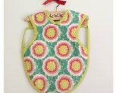Vintage-Style Bib Apron/Bapron/ Smock...Cotton & Flannel Reversible-Puff Flowers Pink Dots Design