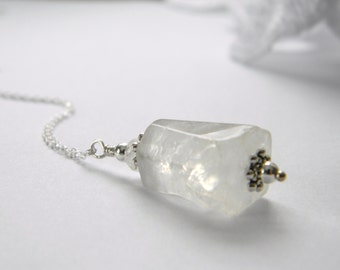 Ice white quartz crystal pendant. Sterling Silver Quartz Gemstone Necklace. Made in Maine. Gift for her. Boutique quality. Boho. Naturalist