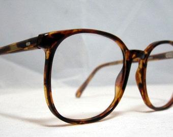 Vintage 80s Large Square Horn Rim Eyeglass Frames. Brown Amber Tortoise