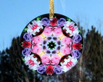 Glass Suncatcher Rose Mandala Boho Chic Sacred Geometry Hippie Kaleidoscope Unique Gift For Her Mod Gypsy New Age Bohemian Petals of Poise