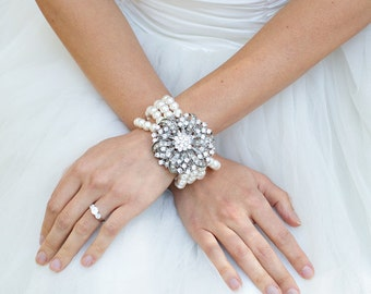 ivory swarovski pearl and crystal Bracelet Statement Bridal Bracelet Bridal Cuff Wedding Rhinestone Bracelet swarovski pearl  LARISSA