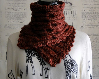SALE--Hand Knit Scarf in Tomato Red Luxe Alpaca blend, ready to ship