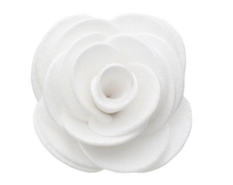 White Kitty Corsage - Ultrasuede® Removable Collar Flower