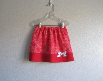 Little Girls Skirt - Red with White Flowers - Toddler Skirt in Red - Size 12m, 18m, 2T, 3T, 4T, 5, 6  or 7