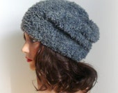 Faux Fur Hat - New Fashion Trend 2014/15 - Womens Knitted Hat - Modern hat in Grey - Hairy Hat - Faux Fur Hat - Grey Denim hat