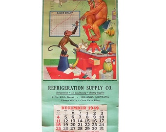 "1949 Monkey Cartoon Wall Calendar by Lawson Wood  ""No Ceiling"""
