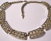 Basketweave Link Necklace Choker Gold Tone Vintage Open Squares Adjustable Link Chain Hangtag Hook Clasp Closure