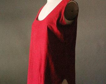 Vintage 80's New Wave Red Embossed Suede Tank Top
