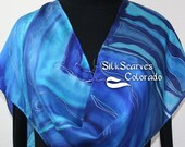 Hand Painted Silk Scarf. Blue, Turquoise, Navy Blue Handmade Scarf, ATLANTIC STORM. 11x60. Silk Scarves Colorado. 100% silk. Hand Dyed Scarf