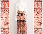 Vintage India Cotton print MAXI Wrap Skirt 1960s. Swans, camels, elephants, flowers, traditional ethnic print.