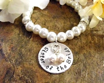 FLASH SALE TODAY Sister of the Bride Pearl Bracelet, Sister Wedding Bracelet, Bridal Bracelet, Sister of the Bride Jewelry