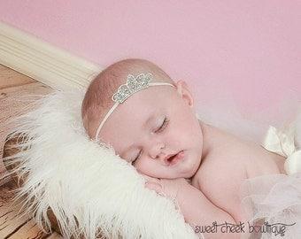 Tiara headband, princess headband, baby tiara headband, crown headband, rhinestone tiara, newborn tiara, princess crown, tiara photo prop