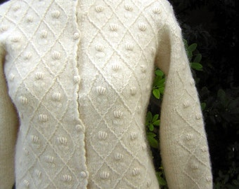"Vintage Hong Kong 60s Style Mohair Wool Cardigan Sweater - Nubby Popcorn Diamond Stitch - Bust 38"" CLEARANCE"