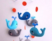 Baby Mobile - whale and circles baby boy crib mobile - whale baby mobile - baby blue mobile - blue whale baby mobile - whale decorate mobile