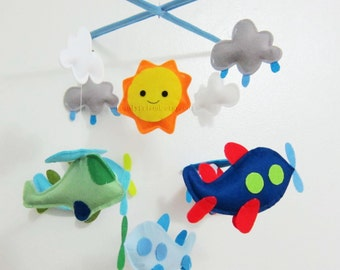 Baby Mobile - airplane baby mobile - happy sun nursery mobile - rain drop cloud crib mboile - Pick your colors