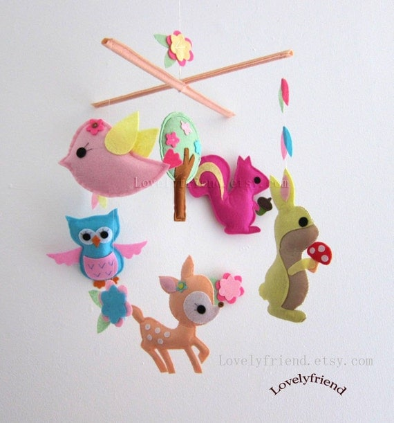 "Baby Crib Mobile - Baby Mobile - Baby Girl Nursery Decorative Mobile - ""Baby Fawn Playland "" (Pick your color)"
