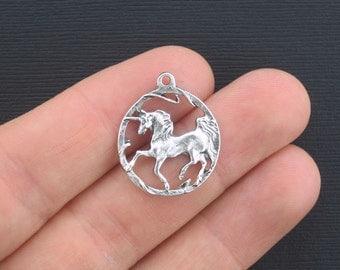 6 Unicorn Charms Antique Silver Tone - SC1348