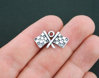 4 Checkered Flags Charms Antique Silver Tone Race Car Charm - SC4205