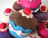 Felt Cupcake w/Cherry (Your Color Choice) -  Decoration, Birthday Gifts, Party Favors, Pin Cushion, Tea Party, Home Decor, Centerpieces