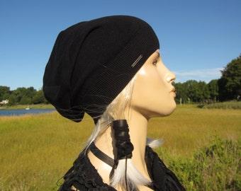 Black Silk Women's Hats Beret Beanie Hat, Designer LOGO Slouchy Beanie Knit Hat Bohemian Clothing A1402 / A1203