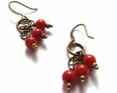 Red Sponge Coral Gemstones, Wire Wrapped Brass Bronze Antique Gold Dangle Earrings