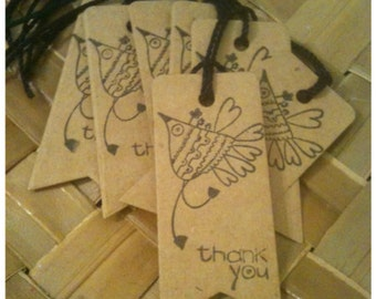 Thank You Handmade Bohemian Lovebird Kraft Card Die Cut Tag Hand Stamped Black Ink Wedding Party Favor Birthday Thank You Set of 16