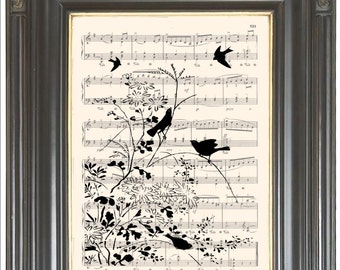 Flowers and birds silhouette COUPON SALE wall art print on Music page Dictionary page art print Wall decor Digital art print Item No. 817