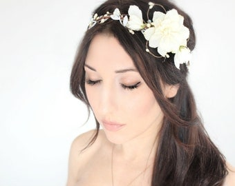 Ivory  Flower Crown, Wedding Headpiece, Bridal Tiara, Hair Flower - HOPE - by DeLoop