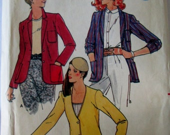 Butterick 6547 Misses' 70s Loose Fitting Jacket Sewing Pattern with Varying Necklines Size 12 Bust 34