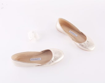 Gold Leather Ballet Flats | Ballerina Flats | Gold Leather Shoes | Women's Flat Shoes | Gold Dust...made to order