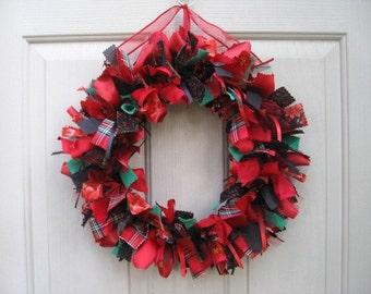 Christmas Wreath, Rag Wreath, Ribbon Wreaths, Fabric Wreaths, Door Wreaths, Winter Decor, Red Green Tartan, Christmas Decor, Holiday Wreath
