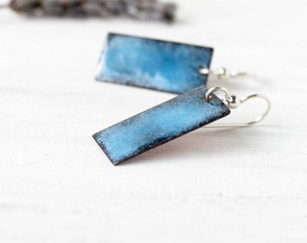 Enamel earrings blue sky and black rectangle sterling silver artisan jewelry by Alery